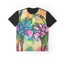 Stained Glass Flowers 2 Graphic T-Shirt