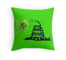 MEXICO SPIDER SKULL FLAG DONT TREAD ON ME Throw Pillow