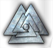 Silver Norse Triskele Valknut Poster
