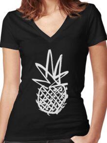 White pineapple  Women's Fitted V-Neck T-Shirt