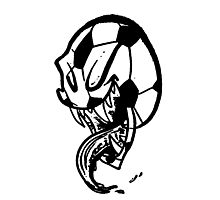 Soccer Monster Black and White Photographic Print