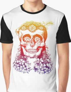 Floral Rainbow Skull Graphic T-Shirt