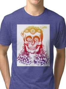 Floral Rainbow Skull Tri-blend T-Shirt