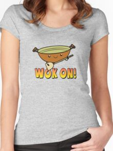 Wok On Funny Chinese Cooking Pun Women's Fitted Scoop T-Shirt