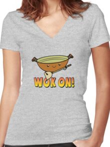 Wok On Funny Chinese Cooking Pun Women's Fitted V-Neck T-Shirt
