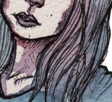 Blue Watercolor Portrait Sketch Sticker