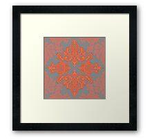 Burnt Orange, Coral & Grey doodle pattern Framed Print