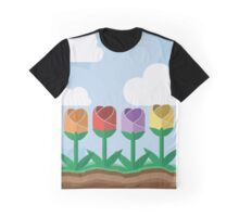 Flowers in a Row Graphic T-Shirt