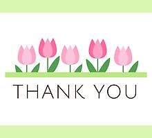 Pink tulips thank you card by MheaDesign