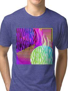 New Chaotic Order Retro Geometric Gradient 80's Design Tri-blend T-Shirt