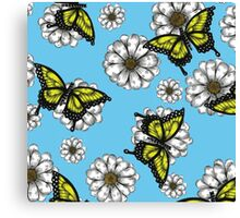 Daisy and Butterflies Pattern Canvas Print