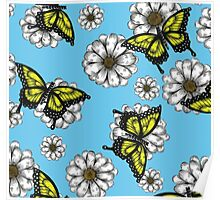 Daisy and Butterflies Pattern Poster