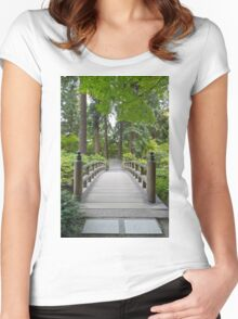 Foot Bridge at Japanese Garden Women's Fitted Scoop T-Shirt