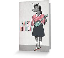 Happy Birthday - Unicorn plays Ukulele  Greeting Card