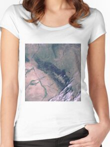 Bighorn National Forest Wyoming Satellite Image Women's Fitted Scoop T-Shirt