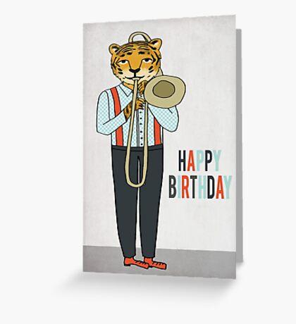 Happy Birthday - Tiger plays Trombone Greeting Card