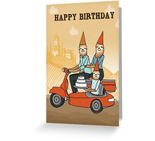 Happy Birthday - Sloths Ride a Vespa Greeting Card