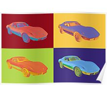 1975 Chevy Corvette Stingray Sports Car Pop Art. Poster