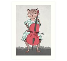 Cat plays Cello by Paper Sparrow Art Print