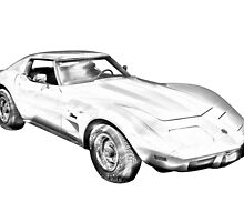 1975 Corvette Stingray Muscle Car Illustration by KWJphotoart