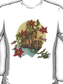 Summer illustration with music speakers and flowers.  T-Shirt