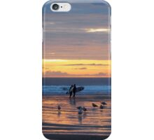Surfers at sunset.... iPhone Case/Skin
