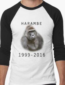 R.I.P Harambe (Black) Men's Baseball ¾ T-Shirt