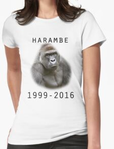 R.I.P Harambe (Black) Womens Fitted T-Shirt