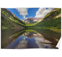 Maroon Bells Images - A Maroon Lake Reflection on a Summer Colorado Morning Poster