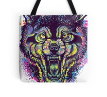 Neotraditional Full Color Wolf Tote Bag