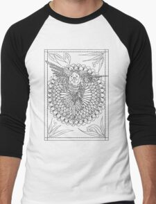Flying Budgie Mandala Drawing Men's Baseball ¾ T-Shirt