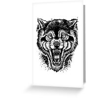 Neotraditional Inked Wolf Greeting Card