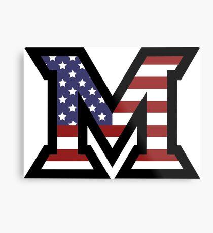 Miami University 'M' American Flag  Metal Print
