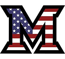 Miami University 'M' American Flag  Photographic Print