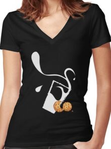 COOKIES & MILK WHITE Women's Fitted V-Neck T-Shirt