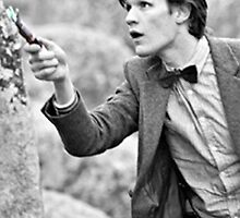 Eleventh Doctor and His Sonic 3 Black and White by Themaninthefez