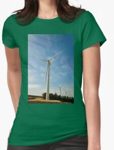 Wind turbines create clean and renewable electricity  Womens Fitted T-Shirt