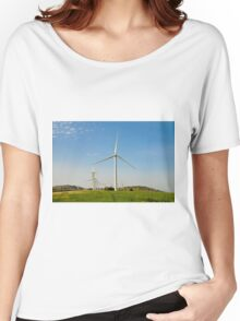 Wind turbines create clean and renewable electricity  Women's Relaxed Fit T-Shirt