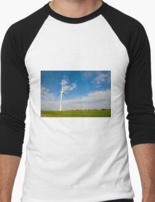 Wind turbines create clean and renewable electricity  Men's Baseball ¾ T-Shirt