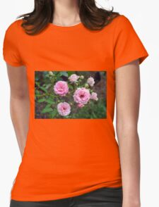 Beautiful delicate pink roses on green leaves background. Womens Fitted T-Shirt