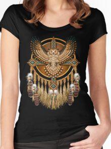 Native American Beadwork Owl Mandala Women's Fitted Scoop T-Shirt