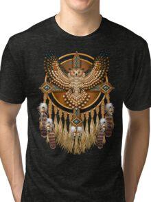 Native American Beadwork Owl Mandala Tri-blend T-Shirt