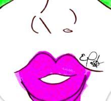 Heart Glasses Face- Neon Green Sticker