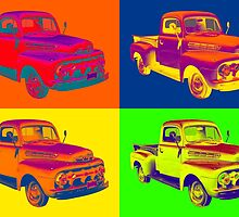1951 ford F-1 Pickup Truck Pop Art by KWJphotoart