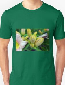 Flowers in the garden. Macro on yellow buds. Unisex T-Shirt