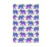 Follow The Leader - Painted Elephants in Purple, Royal Blue, & Mint Art Print
