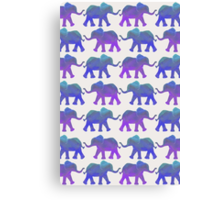 Follow The Leader - Painted Elephants in Purple, Royal Blue, & Mint Canvas Print
