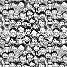 Crowd of funny peoples, seamless background by Kudryashka