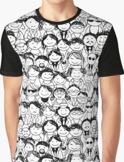 Crowd of funny peoples, seamless background Graphic T-Shirt