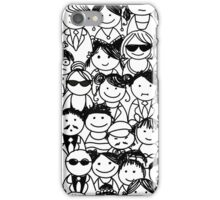 Crowd of funny peoples, seamless background iPhone Case/Skin